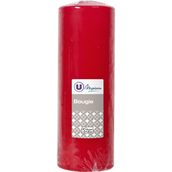 Bougie U MAISON, non parfumée, 68x195mm, rouge