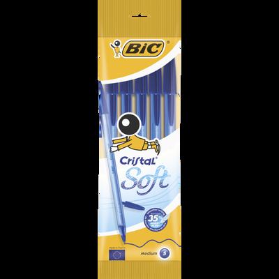 Stylo bille BIC Crystal Soft, bleu, pack de 5