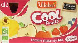 Compote Cool Fruits Pomme Fraise Myrtille Bio Vitabio 12 gourdes 90g