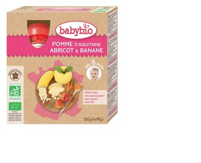 Gourde Pomme Abricot Banane BABYBIO dès 6 mois 4x90g