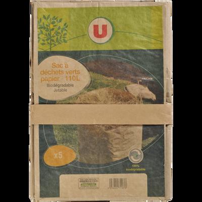 Sacs à déchet vert U, 110l, biodégradable, 5 unités