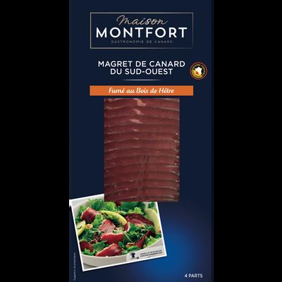Magret canard tranché fumé au bois de hêtre, IGP, Maison Montfort, France, barquette 80g
