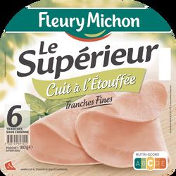 Jambon supérieur cuit à l'étouffée FLEURY MICHON, 6 tranches fines soit 180g