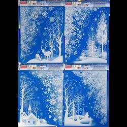 Vitrostatiques, planche 41x29cm -Décor  Renne,Forêt, Village, Bonhommede neige au choix
