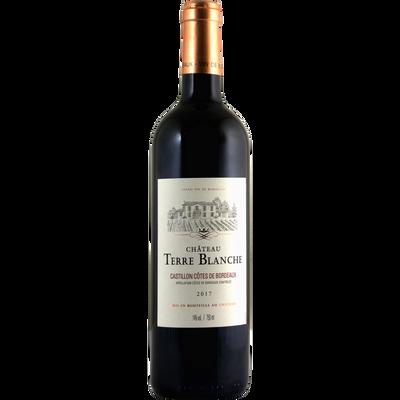 Vin rouge AOC Castillon Côtes de Bordeaux Château TERRE BLANCHE, bouteille de 75cl