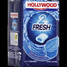 Chewing-gum 2 fresh menthe fraîche et forte sans sucres HOLLYWOOD, 3 boîtes de 33g