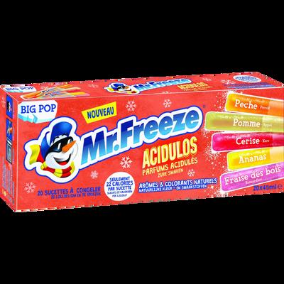 Sucettes à glacer big pop acidulos MR FREEZE, boîte de 20 bâtonnets de45ml