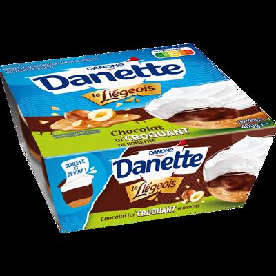 Liégeois au chocolat sur lit de noisette avec éclats de noisette DANETTE, 4x100g