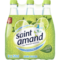 Eau minérale gazeuse aromatisée au citron vert citron vert SAINT AMAND, pack de 6x50cl