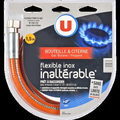 Tuyau flexible pour gaz butane et propane U, en inox