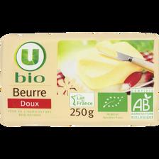 Beurre doux U BIO, 82% de MG, plaquette de 250g