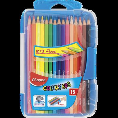 Crayons de couleurs Color Pep's MAPED, boîte de 15 unités, coloris assortis