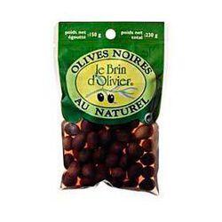 Olives noires au naturel LE BRIN D'OLIVIER, 150g