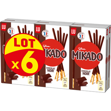 LU Biscuits Chocolat Noir Lu Mikado, 6x90g