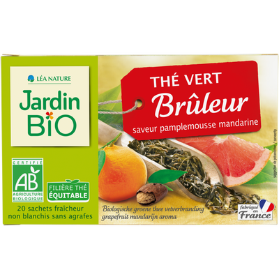 Thé vert bruleur saveur pamplemousse/mandarine bio JARDIN BIO 30g