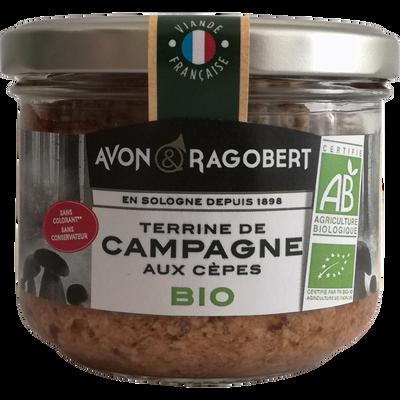 Terrine de campagne aux cèpes BIO AVON & RAGOBERT, verrine de 180g