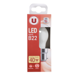 Led U, Mini, ronde, 40w, b22, opaque, lumière chaude