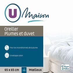 """OREILLER MOELLEUX """" PLUME ET DUVET """" 65X65CM U MAISON"""