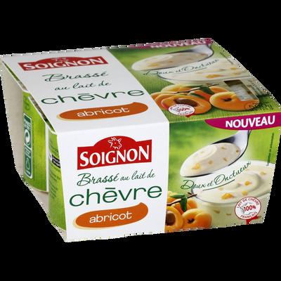Yaourt brassé au lait de chèvre avec morceaux abricots, SOIGNON, 4X125g