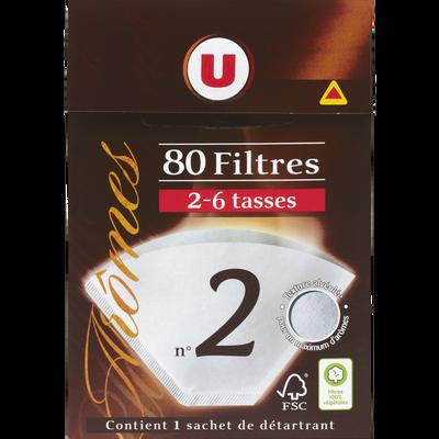 Filtres à café numéro 2 + détartrant U, 80 unités