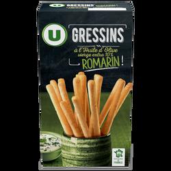 Gressins à l'huile d'olive et romarin U, paquet de 125g