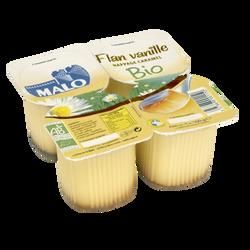 Flan bio vanille nappé caramel MALO, 4x100g
