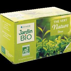 Thé vert doux JARDIN BIO,  20 sachets individuels, 40g