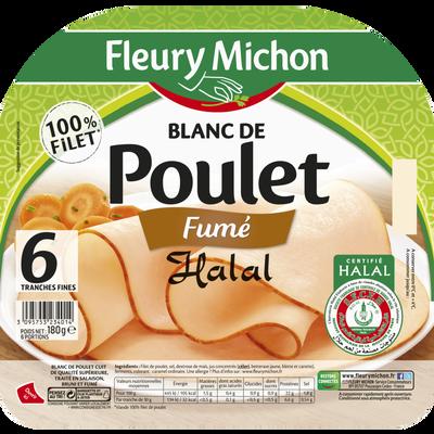 Blanc de poulet goût fumé halal FLEURY MICHON, 6 tranches fines, 180g