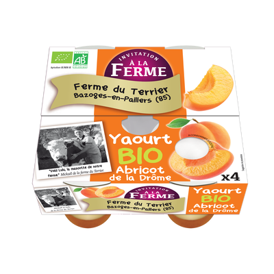 Yaourt abricot bio le terrier x 4