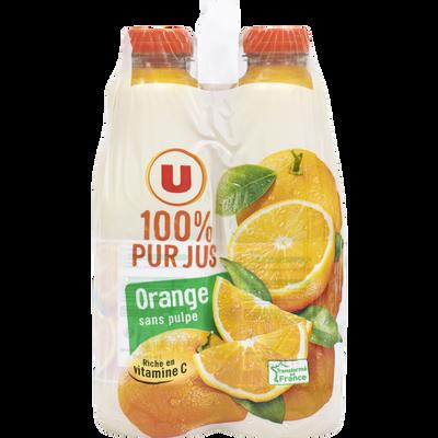 Pur jus d'orange sans pulpe U, bouteille en plastique 4x1 litre