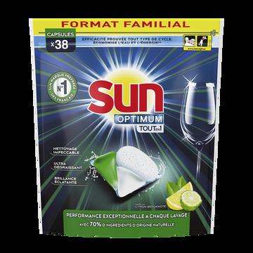 Sun Capsules Lave-vaisselle Optimum Tout En 1 Citron Bergamote Sun, X38 Format Familial