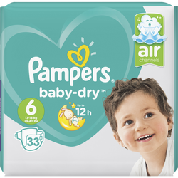 Couches baby dry taille 6 13-18kg géant PAMPERS,  x33
