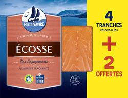 Saumon Atlantique élevé en Ecosse fumé PETIT NAVIRE, x4+ 2 mini tranches offertes soit 160g