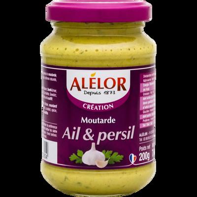 Moutarde douce Alsace ail persil ALELOR, pot en verre de 200g