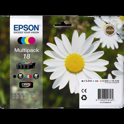 Pack 4 cartouches d'encre EPSON T1806 Noir et Cyan Pâquerette sous blister