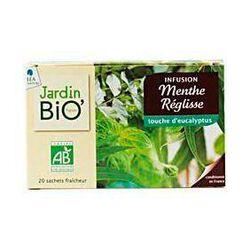 Infusions menthe réglisse et touche d'eucalyptus, JARDIN BIO, 20 sachets, 30g