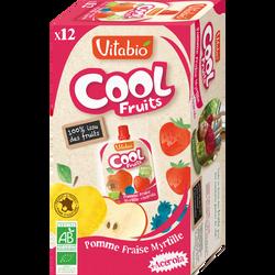 Cool fruits pomme fraise myrtille VITABIO, 12 gourdes de 90g