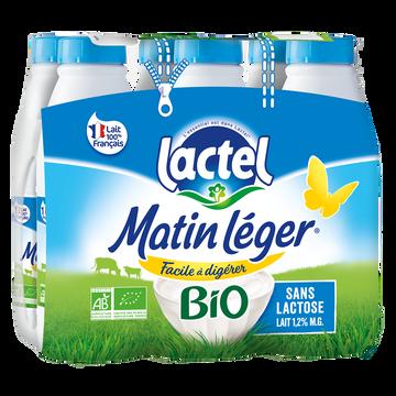 Lactel Lait Uht À Teneur Réduite En Lactose Bio Matin Leger, 1,2% De Mg, 6 Bouteilles De 1 Litre