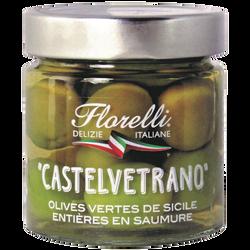 FLORELLI CASTELVETRANO ( olives vertes de Sicile entières en saumure) 200g