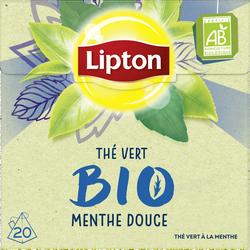 Thé vert bio menthe douce LIPTON, 20 sachets pyramide, 28g