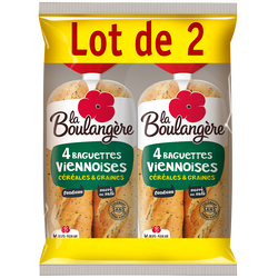 Baguettes viennoises céréales fendues LA BOULANGÈRE, 2x4 soit 680g