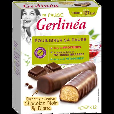 Barres de régime hyperprotéinées aux 2 chocolats GERLINEA, 12 unités soit 372g