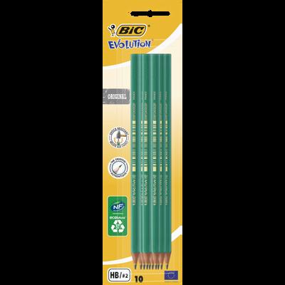 10 Crayons graphite BIC Evolution 650 HB, corps en résine de synthèse