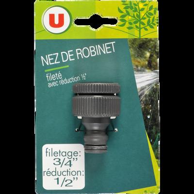 """Nez de robinet U, filetage 3/4"""", reconduction 1/2"""""""