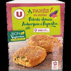 Panés au millet patate douce, aubergine paprika U BON & VEGETARIEN, 2x100g