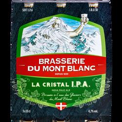 Bière la cristale IPA MONT BLANC 4.7°, 3 bouteilles de 33cl