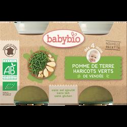 Pot pomme de terre haricots verts BABYBIO, dès 4 mois, 2x130g soit 260g