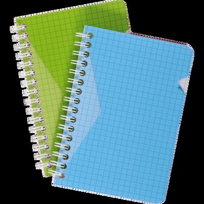 Carnet reliure intégrale U, 5x5, 9x14 cm, 100 pages, coloris assortis