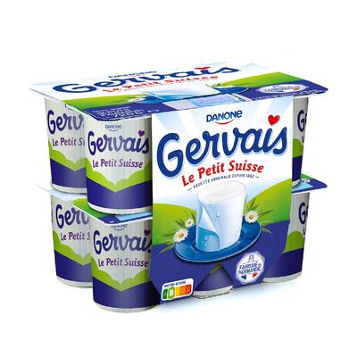 Fromage frais lait pasteurisé nature le petit suisse GERVAIS, 9,5% deMG, 12x60g