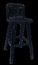 Lot 2 chaises de bar 51x44x100cm en armature tubre acier époxy dia 19/10/10mm recouvert de polyéthylène imitationosier noir-à monter soi-même